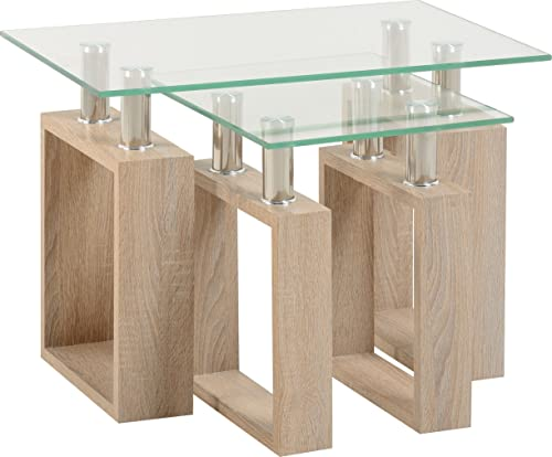 Milan lamp table in sonoma oak effect veneerclear glasssilver seconique milan nest of tables sonoma oak effectclear glasssilver aloadofball Choice Image