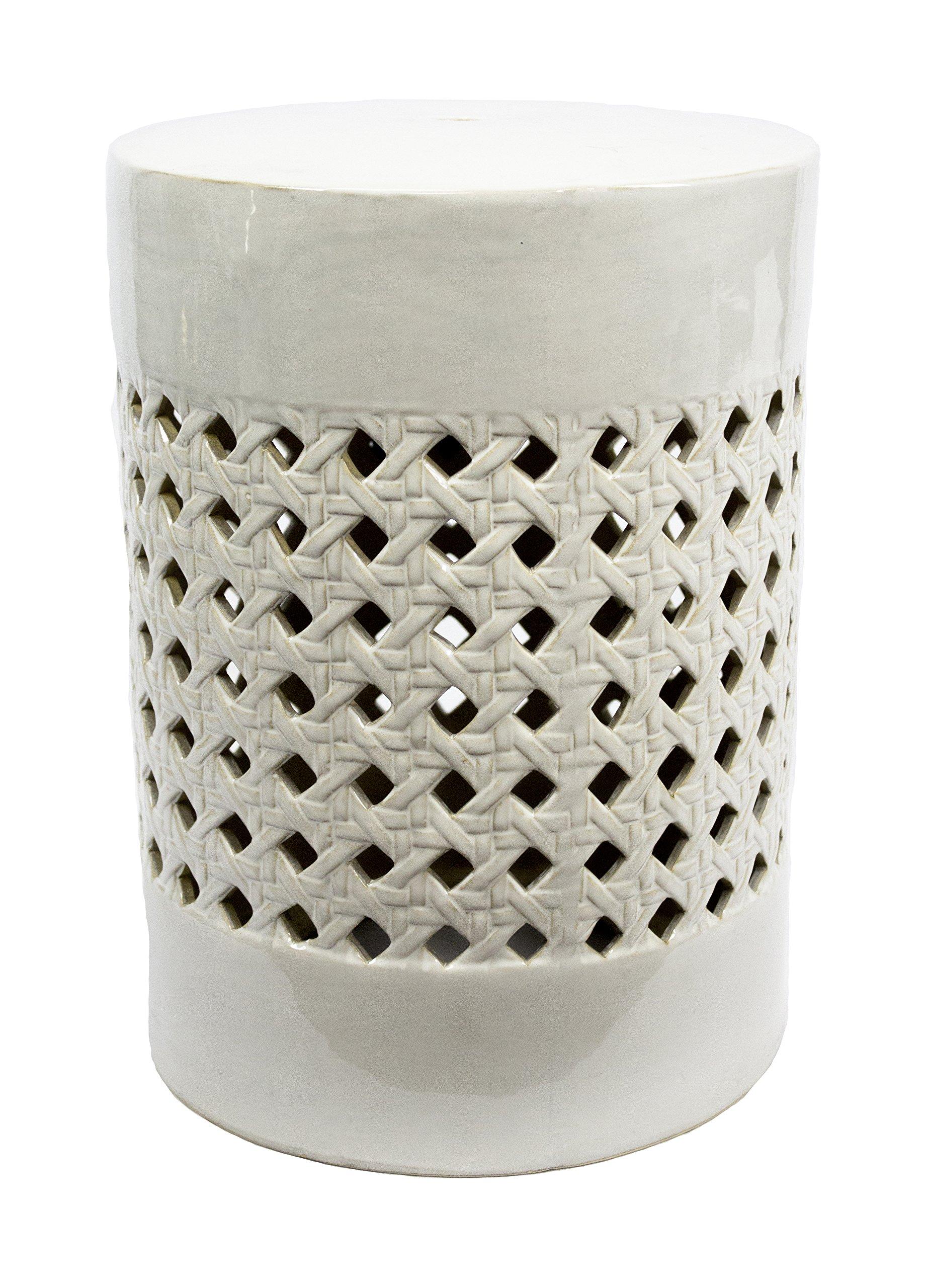 Sagebrook Home FC10448-01 Basketweave Pierced Garden Stool, White Ceramic, 13 x 13 x 17.5 Inches