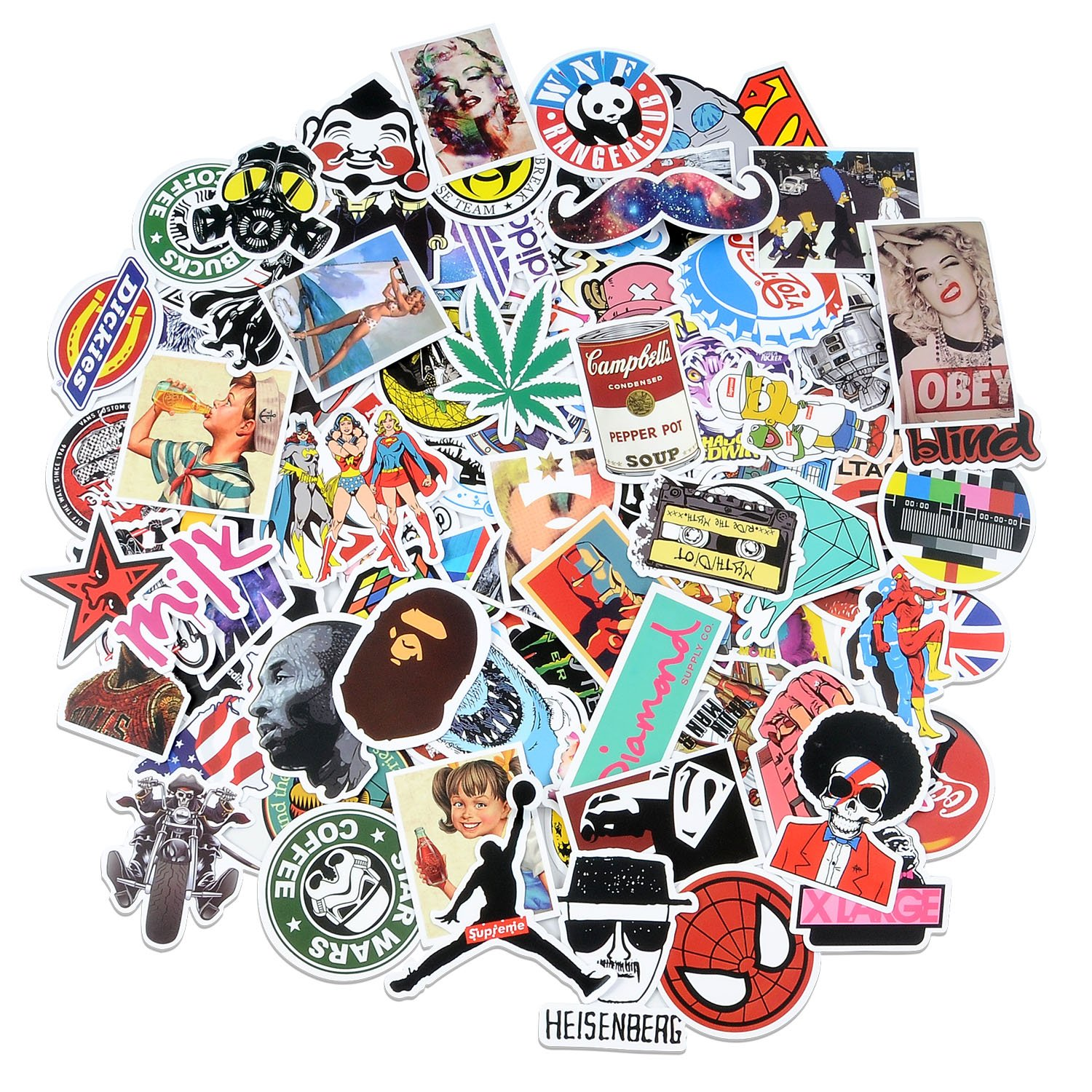 100 waterproof stickers laptop car luggage dope supreme hypebeast bape slaps