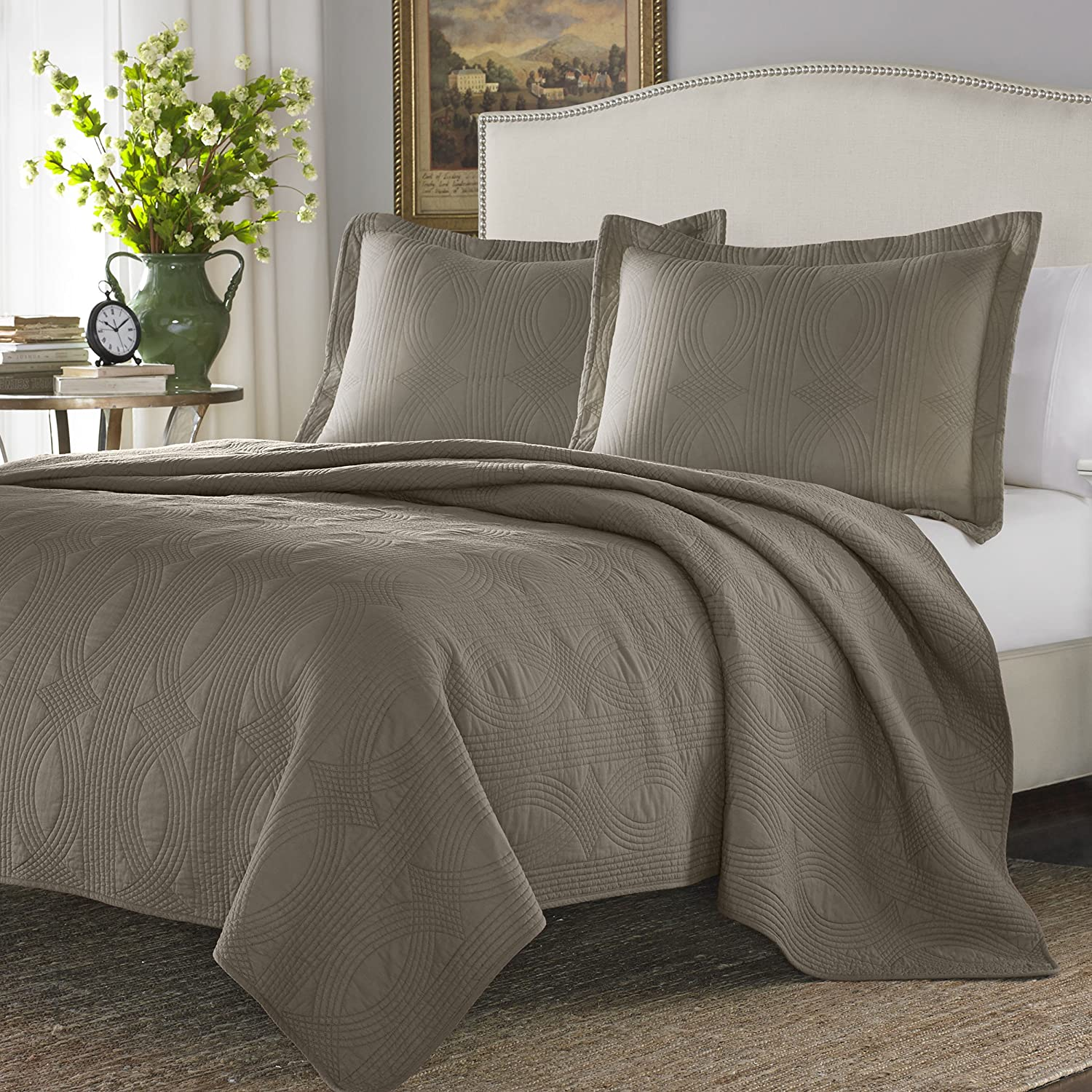 Stone Cottage Cotton Quilt Set, Full/Queen, Taupe