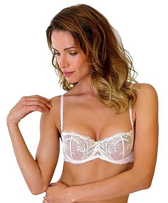 ed8d74ce5cc Rosme Lingerie Sheer Lace Balconette Bra True Romance at Amazon Women s  Clothing store