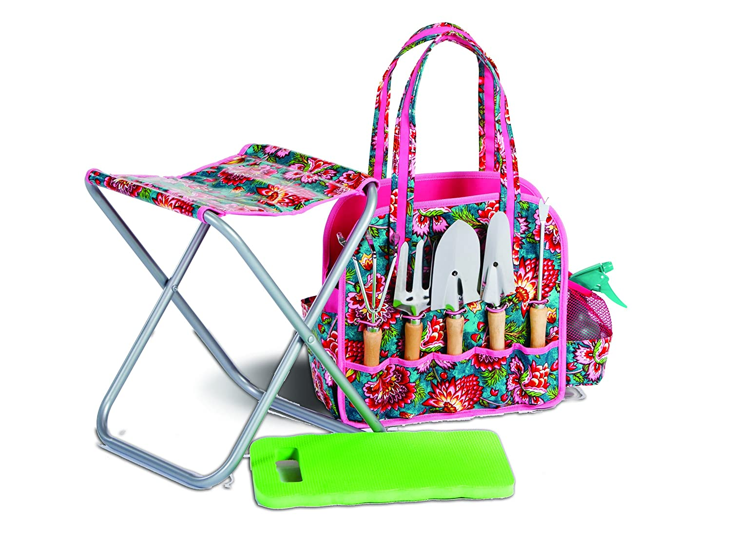 9 Piece Deluxe Garden Tote with Stool, Kneeling Pad and 5 Garden Tools April Cornell Madeline Turquoise Design by Picnic Plus