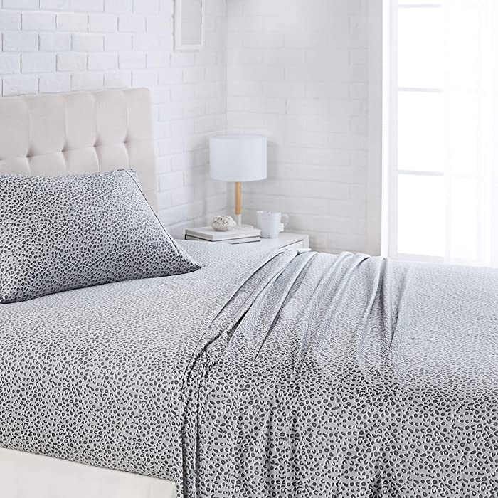 "AmazonBasics Lightweight Super Soft Easy Care Microfiber Sheet Set with 16"" Deep Pockets - Twin, Grey Cheetah"