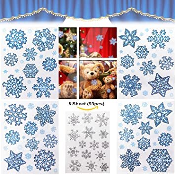 Amazoncom Modchan Christmas Window Stickers Snowflakes - Snowflake window stickers amazon