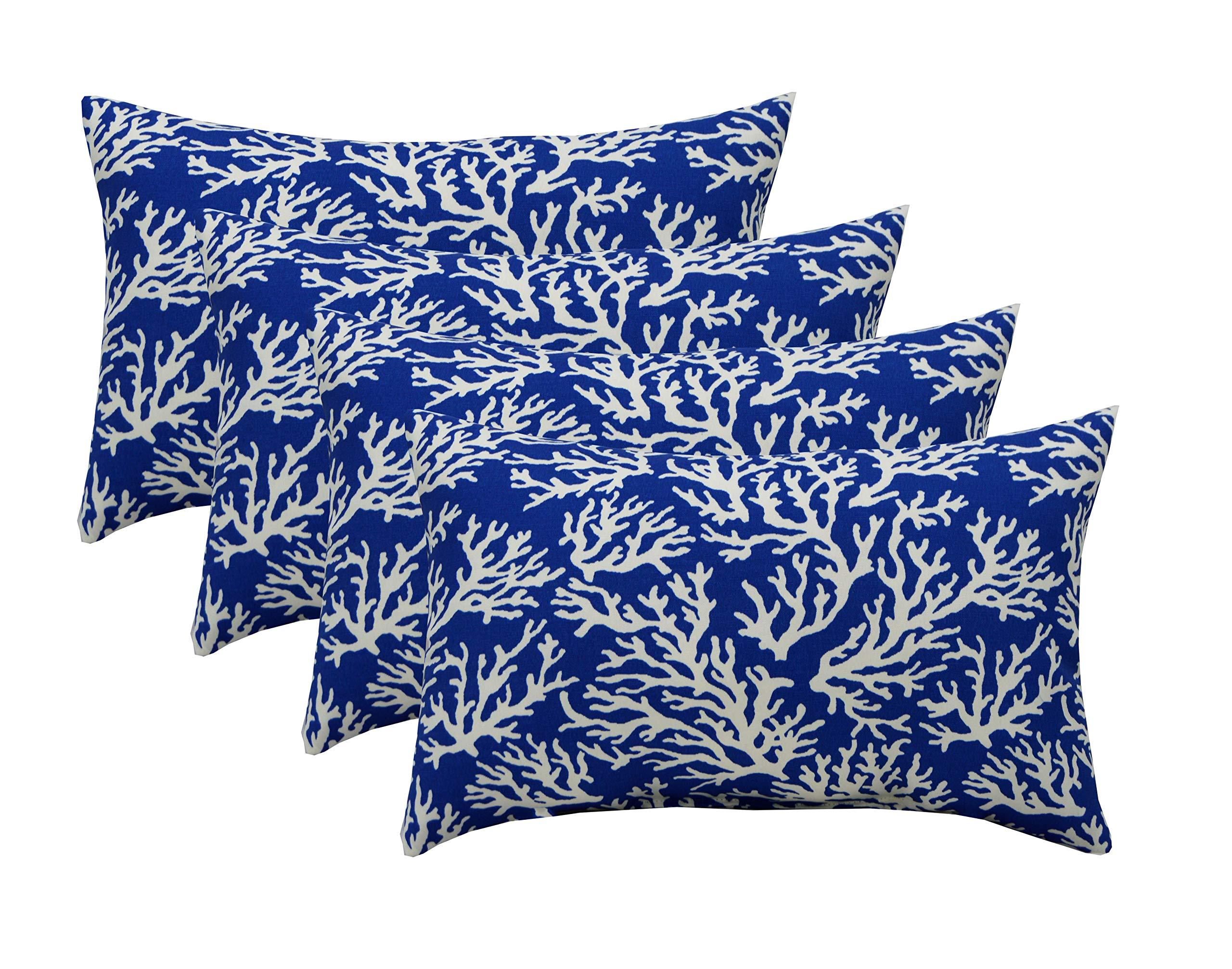 Set of 4 in Outdoor Lumbar/Rectanglar Decorative Throw Pillows ~ Blue Coral Reef ~ Ocean Life ~ Coastal ~ Coral Reef