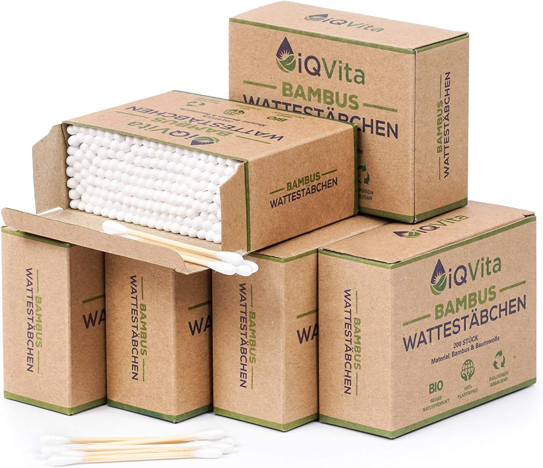 Oferta de introducción: 1200 bastoncillos de algodón de bambú (6 x 200 unidades) – 100% sin plástico, biodegradable, vegano y sostenible – producto natural puro.