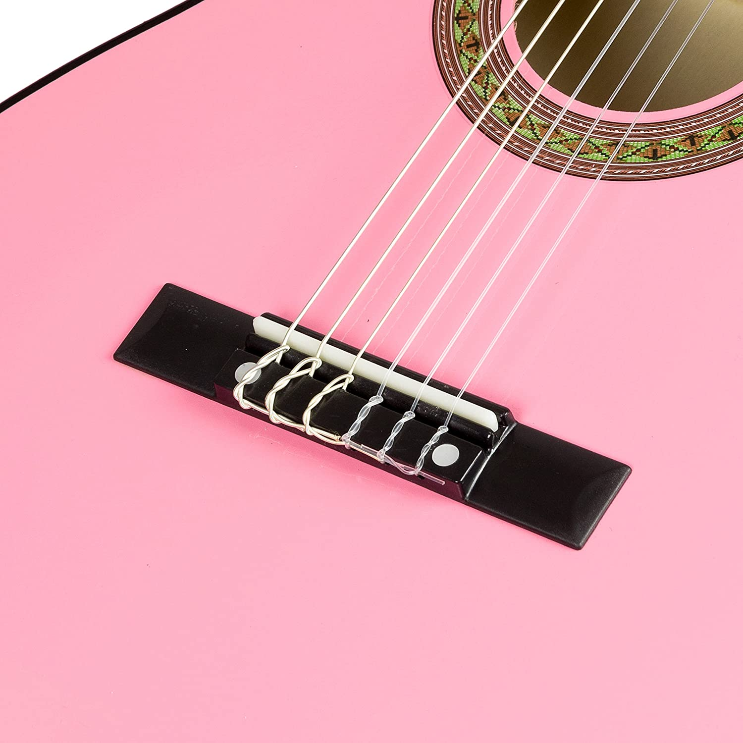 Amazon.com: Music Alley MA-34-PNK Acoustic Guitar Pack, Pink ...