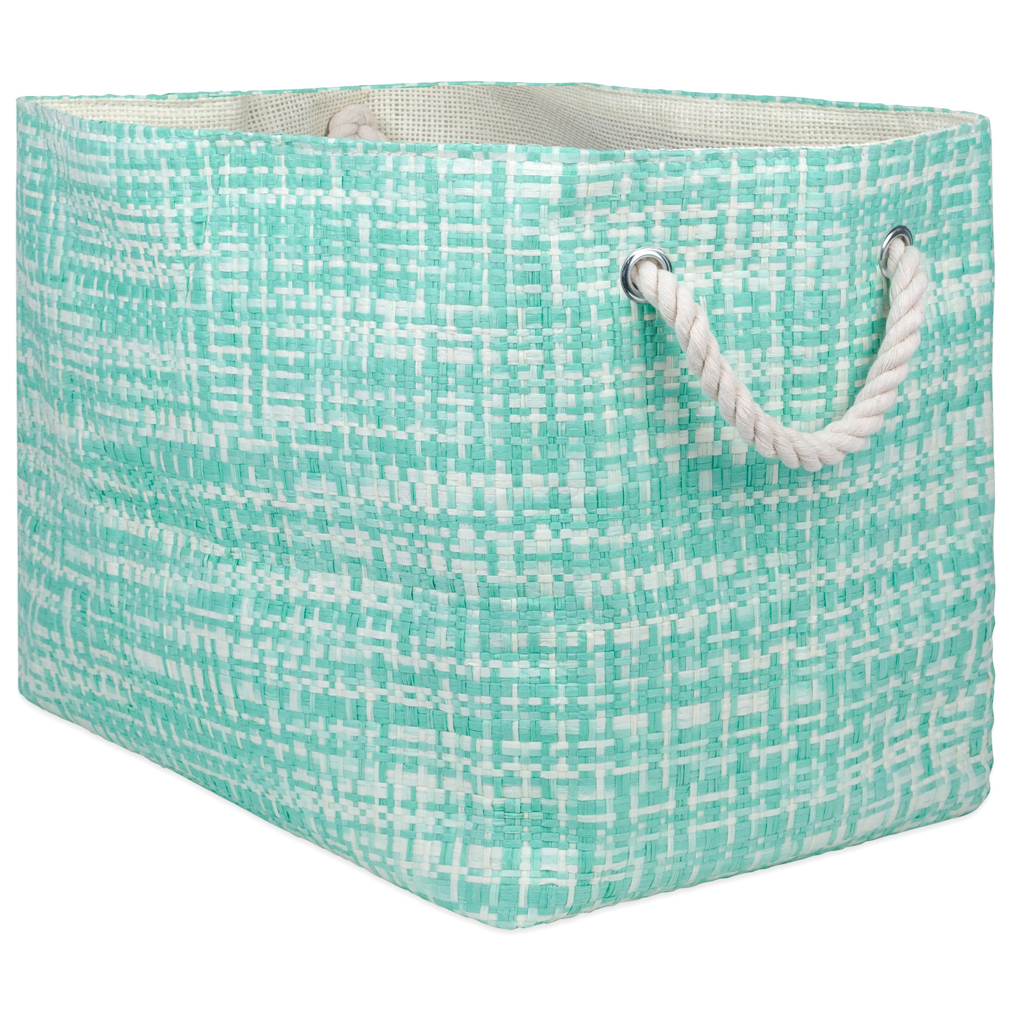 "DII Oversize Woven Paper Storage Basket or Bin, Collapsible & Convenient Home Organization Solution for Office, Bedroom, Closet, Toys, Laundry (Large - 17x12x12""), Aqua Tweed"