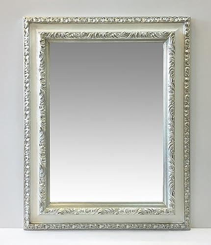 Specchio rettangolare con cornice lavorata gola bianca liscia e ...