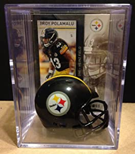 Pittsburgh Steelers NFL Helmet Shadowbox w/Troy Polamalu card