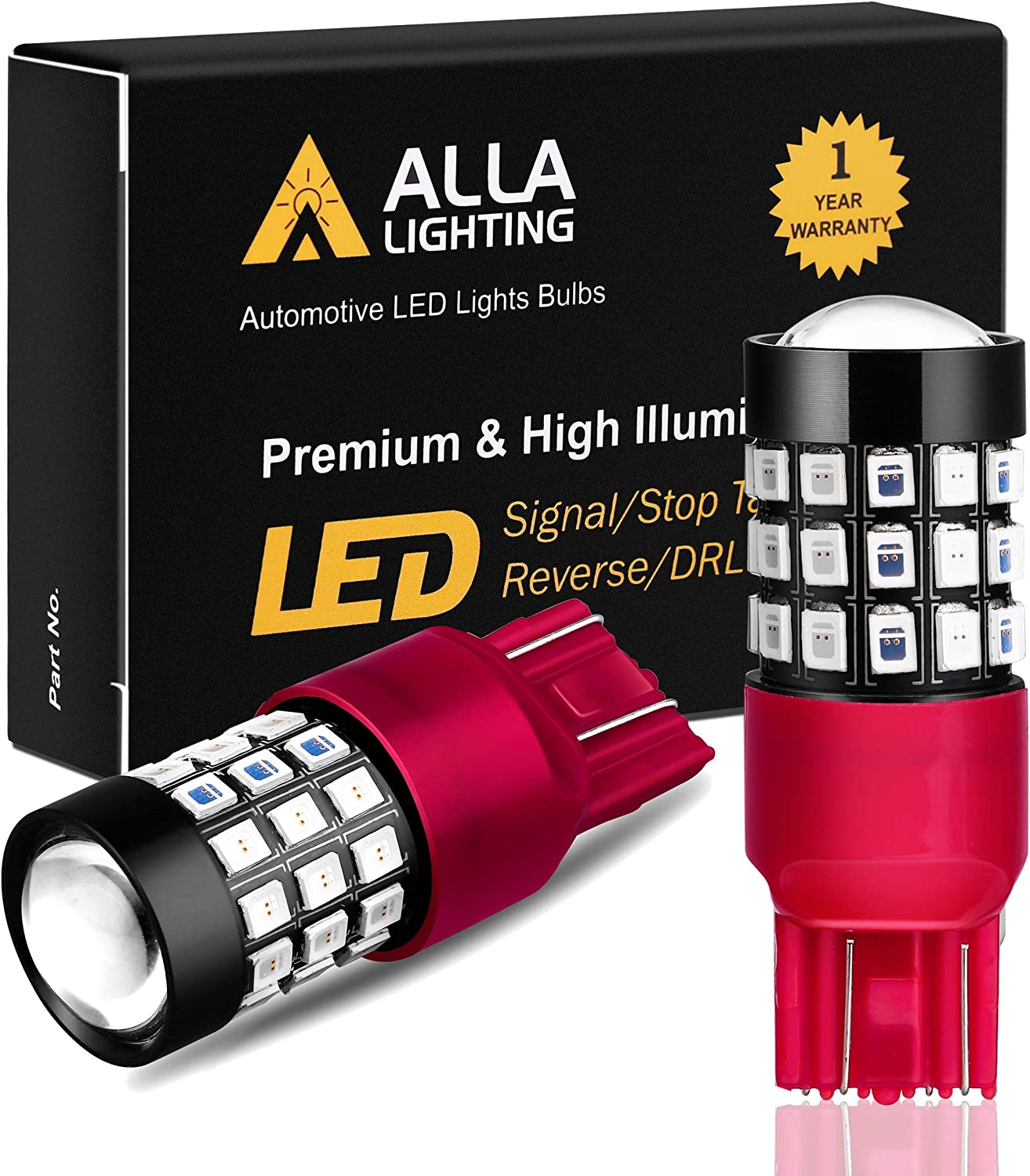 Alla Lighting 7440 7443 LED Brake Stop Tail Lights Bulbs Super Bright T20 39-SMD High Power 2835 Chipsets W21W Red Turn Signal Light Replacement for Cars Trucks