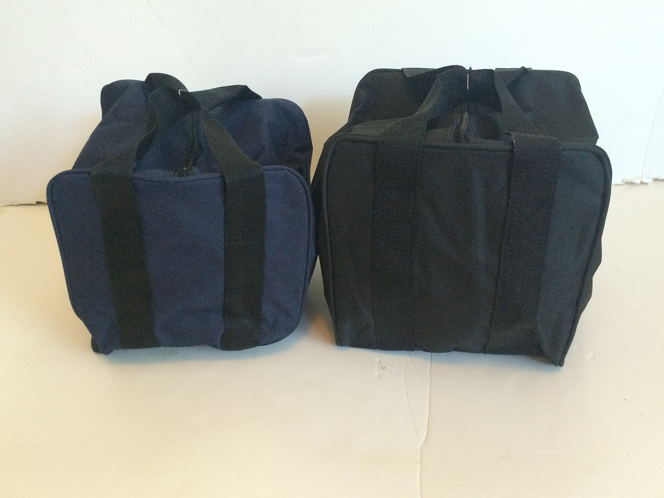 Unique Package - Pack of 2 Extra Heavy Duty Nylon Bocce Bags - Blue with Black Handles and Black with Black Handles by BuyBocceBalls