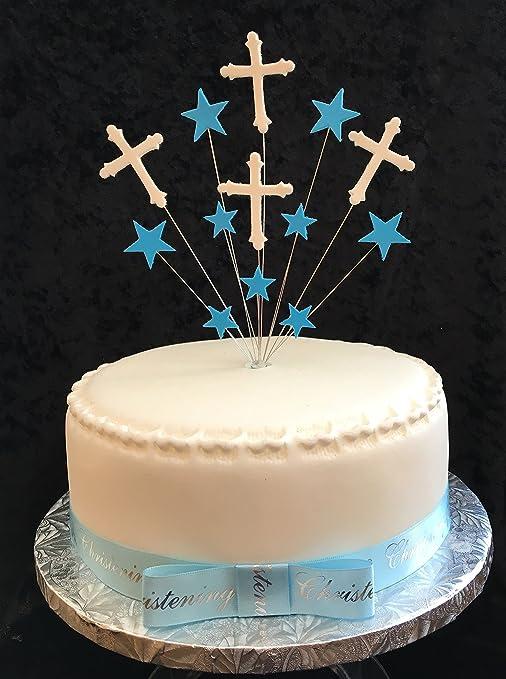 Karens Cake Toppers Decoración para Tarta para Bautizo con Cruces y Estrellas, para Tarta de