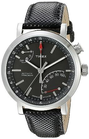 49e5eb805f5f Timex Unisex TW2P81700 Metropolitan+ Activity Tracker Watch with Black  Leather Strap