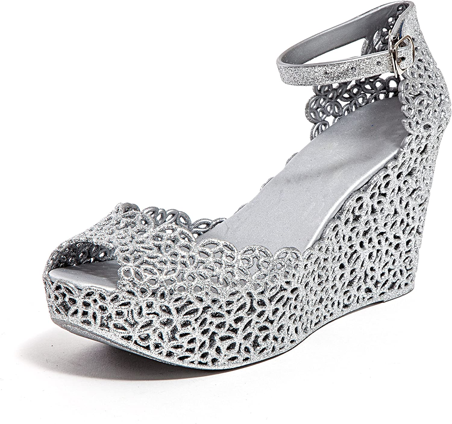 Lady Couture Glitter Jelly Wedge Sandal