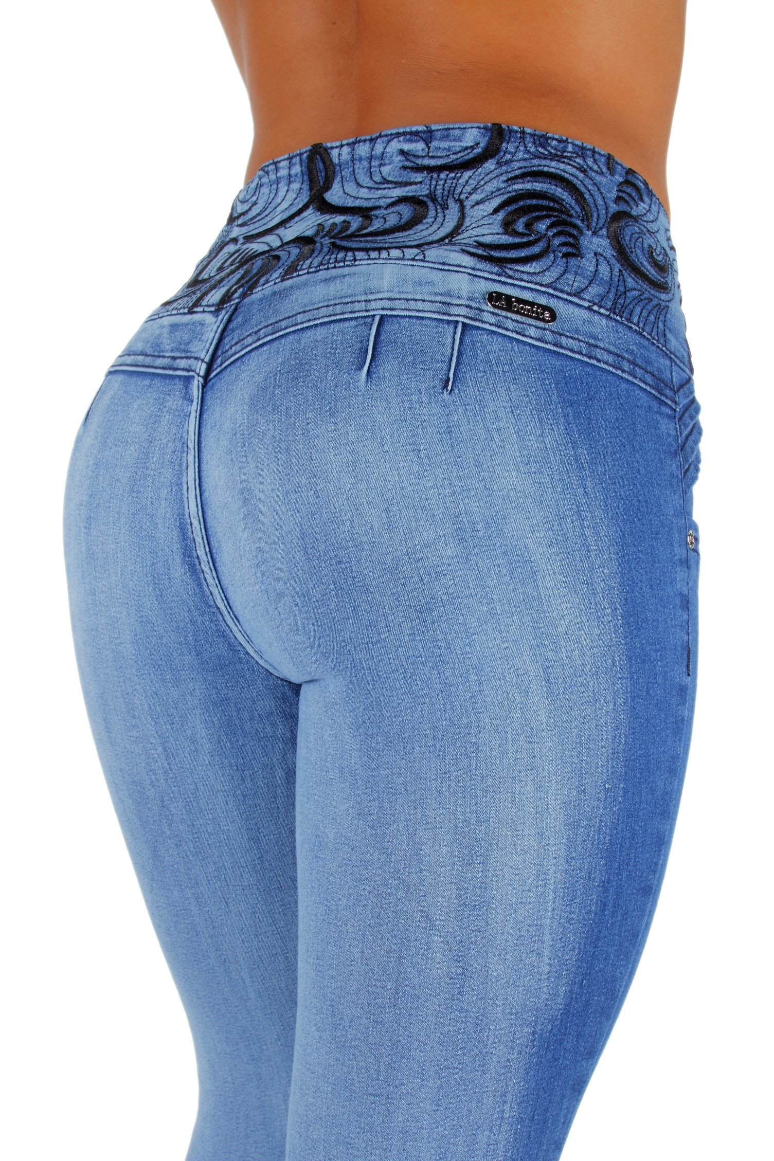 Fashion2Love Style LA6A078aS – Colombian Design, Mid Waist, Butt Lift, Skinny Jeans in Washed Light Blue Size 1