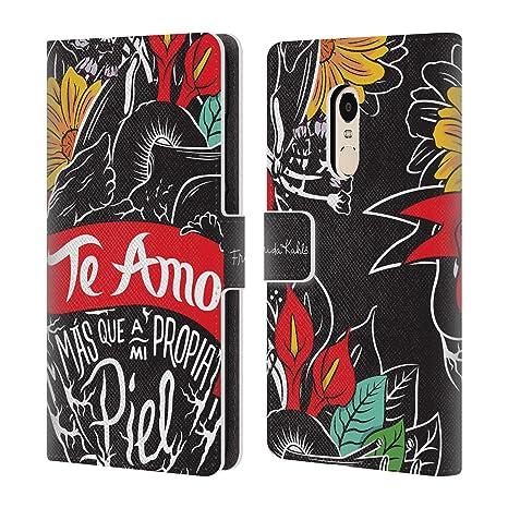 Oficial Frida Kahlo tipogragia Carcasa Tipo Cartera de Piel para Xiaomi teléfonos