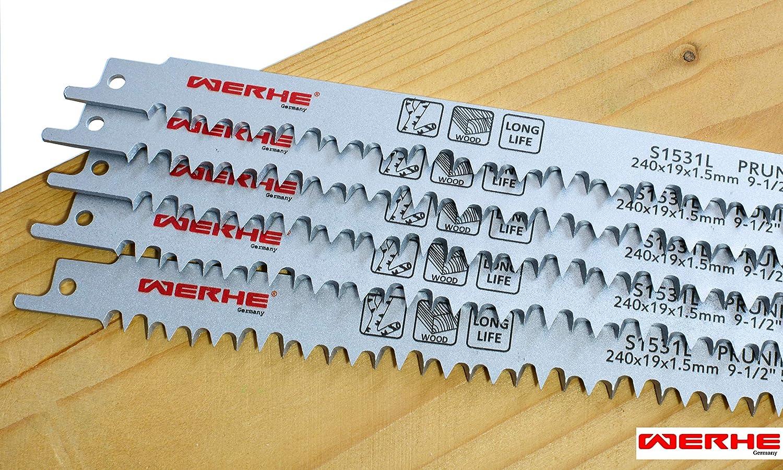 WERHE /® Profi Hochwertiges HCS Stahl Schnelles Schneiden dicker Schichten 5 x Holz /& /Äste S/äbels/ägebl/ätter C 240mm S1531L Extra Lang Makita Fuchsschwanz Kompatibel mit Bosch