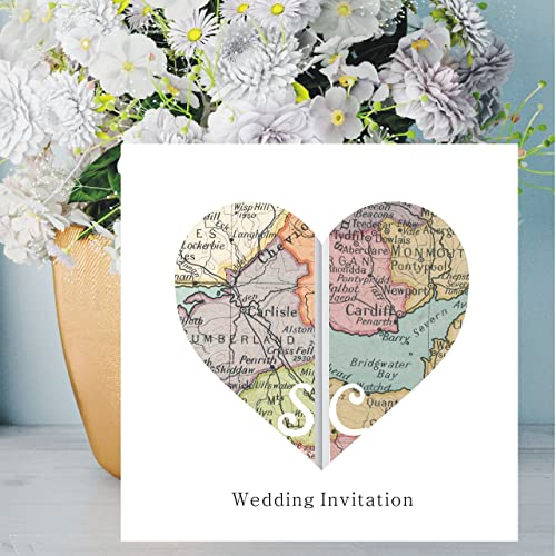 Heart Vintage Map Wedding Invitations - Personalised with Maps Of your Chosen Worldwide Locations - FREE