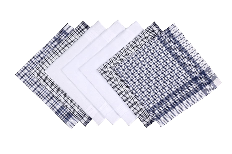 Blank&Black 100% Pure Cotton Men's Handkerchief 7 Pieces Gift Set