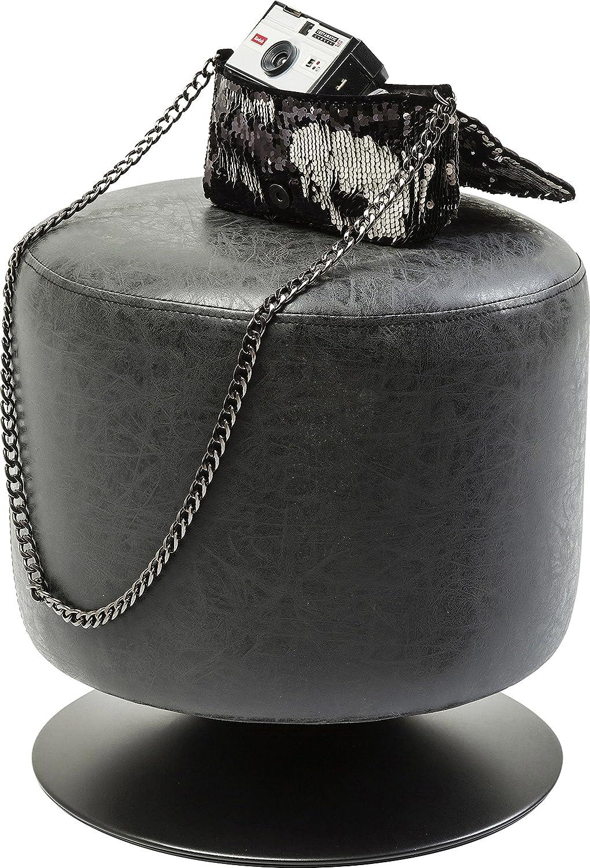Kare Design–Pouf a l' aspetto pelle nero Richi 82114