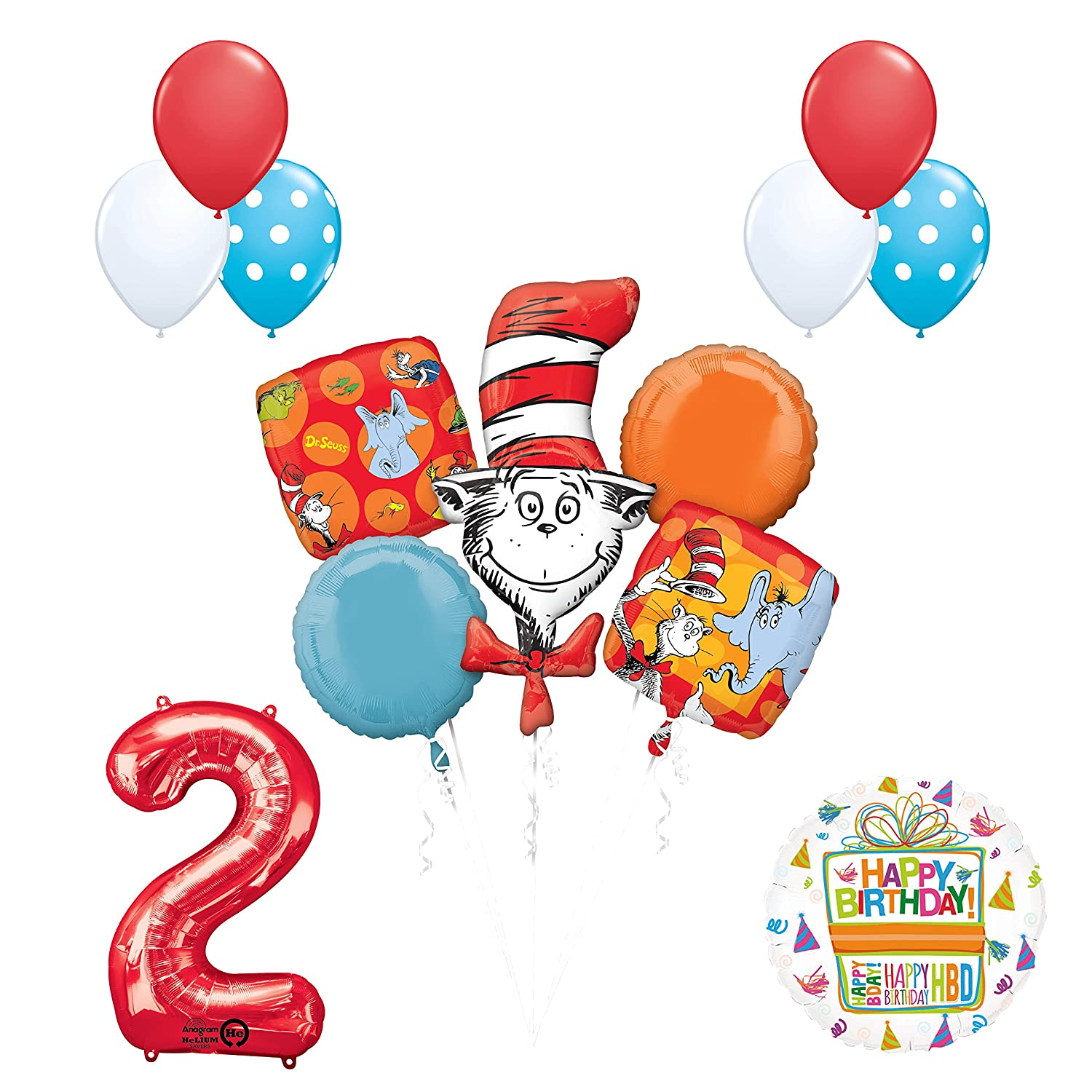 Amazon 13 Pc Dr Seuss Cat In The Hat 2nd Birthday Party Balloon Supplies And Decorations Toys Games