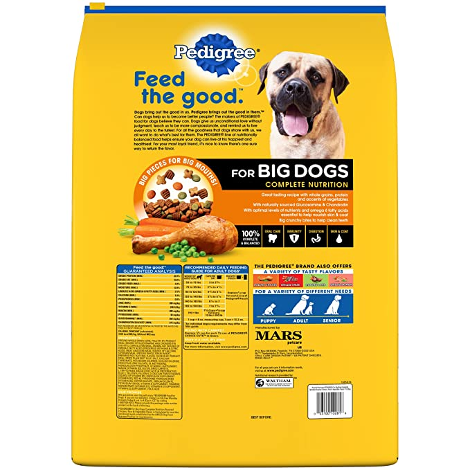 amazon com pedigree adult large dog roasted chicken rice vegetable dry dog food 17 pounds pet supplies