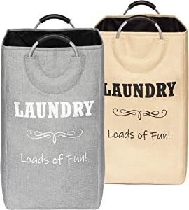 CAIVA Laundry Basket, Contemporary Style Collapsible Laundry Hamper, Perfect Clothes Hamper for Laundry and Storage (Grey)
