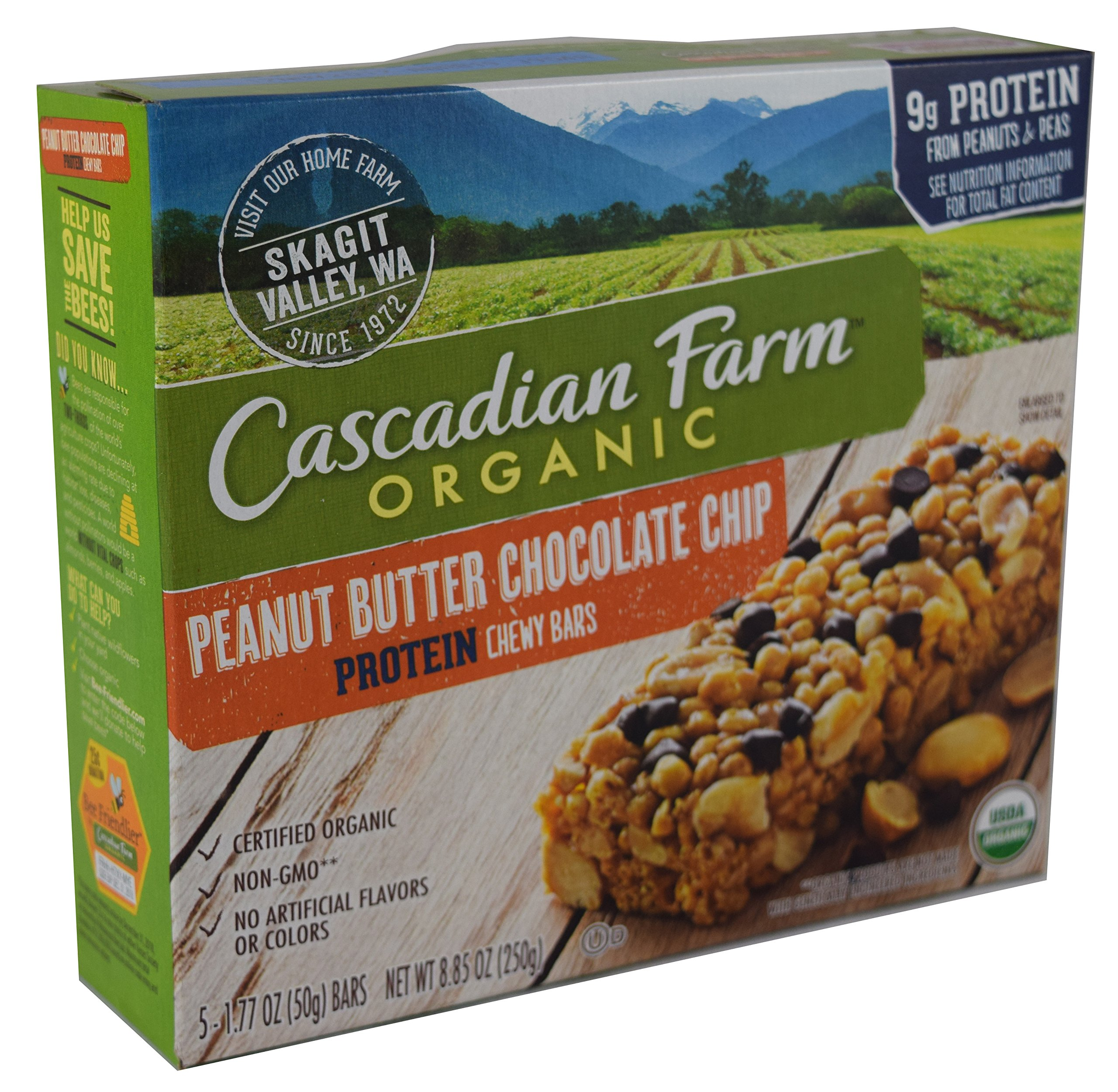 Cascadian Farm Organic Peanut Butter Chocolate Chip Protein, 8.85 oz Box (Pack of 4)