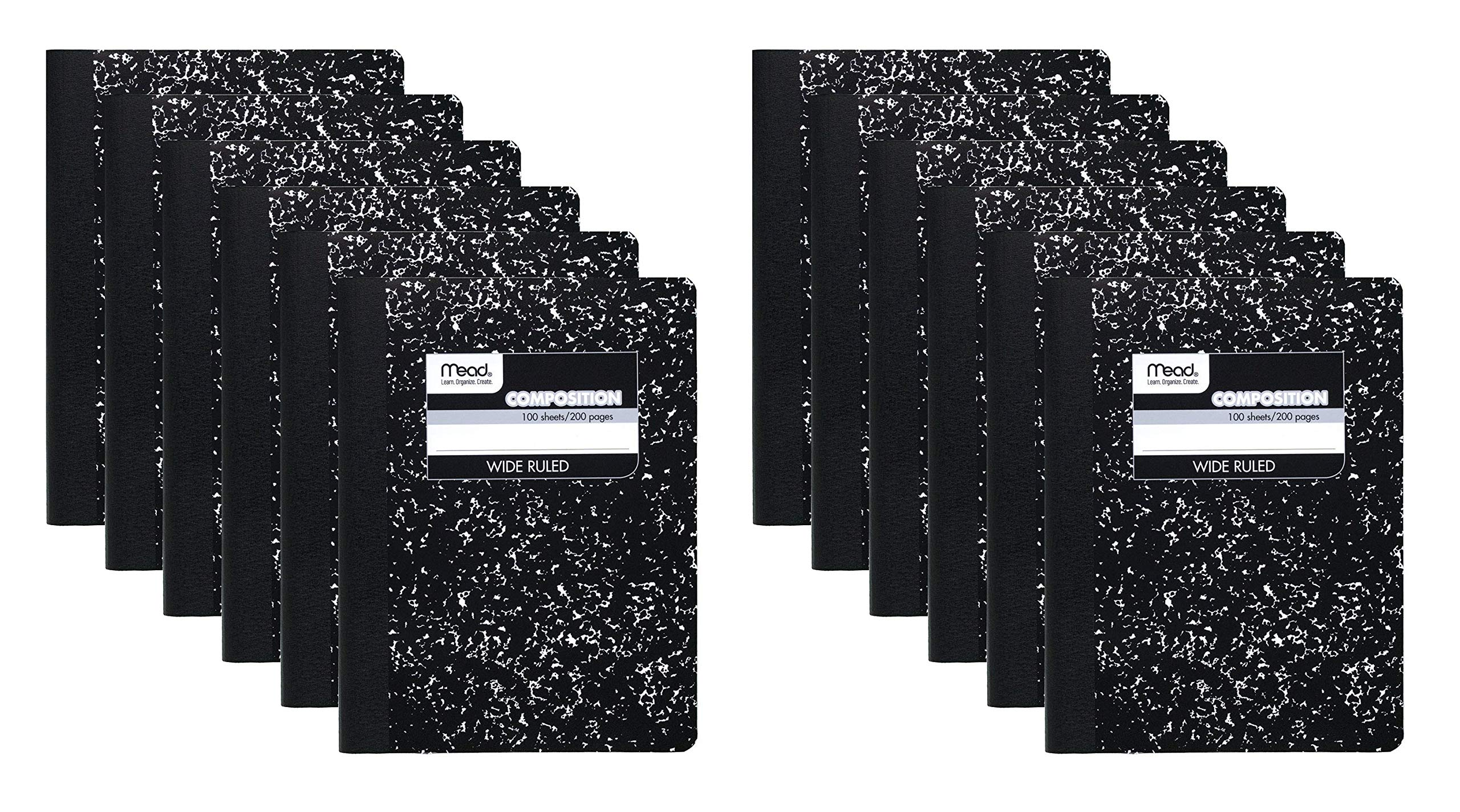 Mead Composition Book/Notebook, Wide Ruled Paper, 100 Sheets, 12 Count