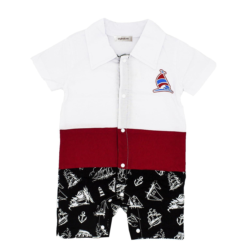 2 Colors StylesILove Handsome Boat Baby Boy Romper Onesie