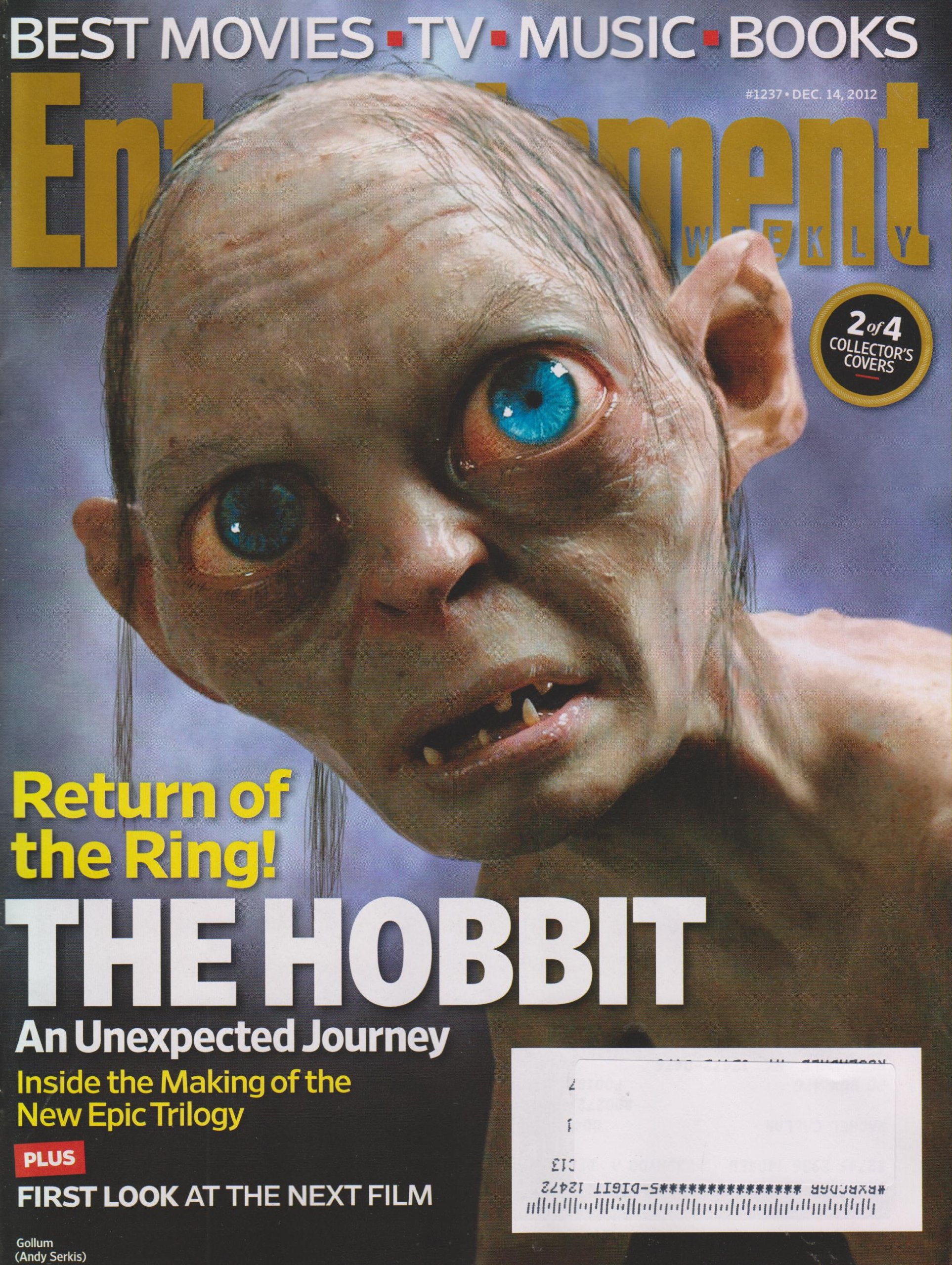 Entertainment Weekly December 14, 2012 the Hobbit Gollum Cover#2 of 4 ebook