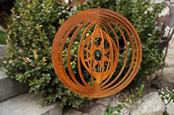 Dw Edelrost Windspiel Sonne Garten Spiralen Fenster 18cm Terrasse