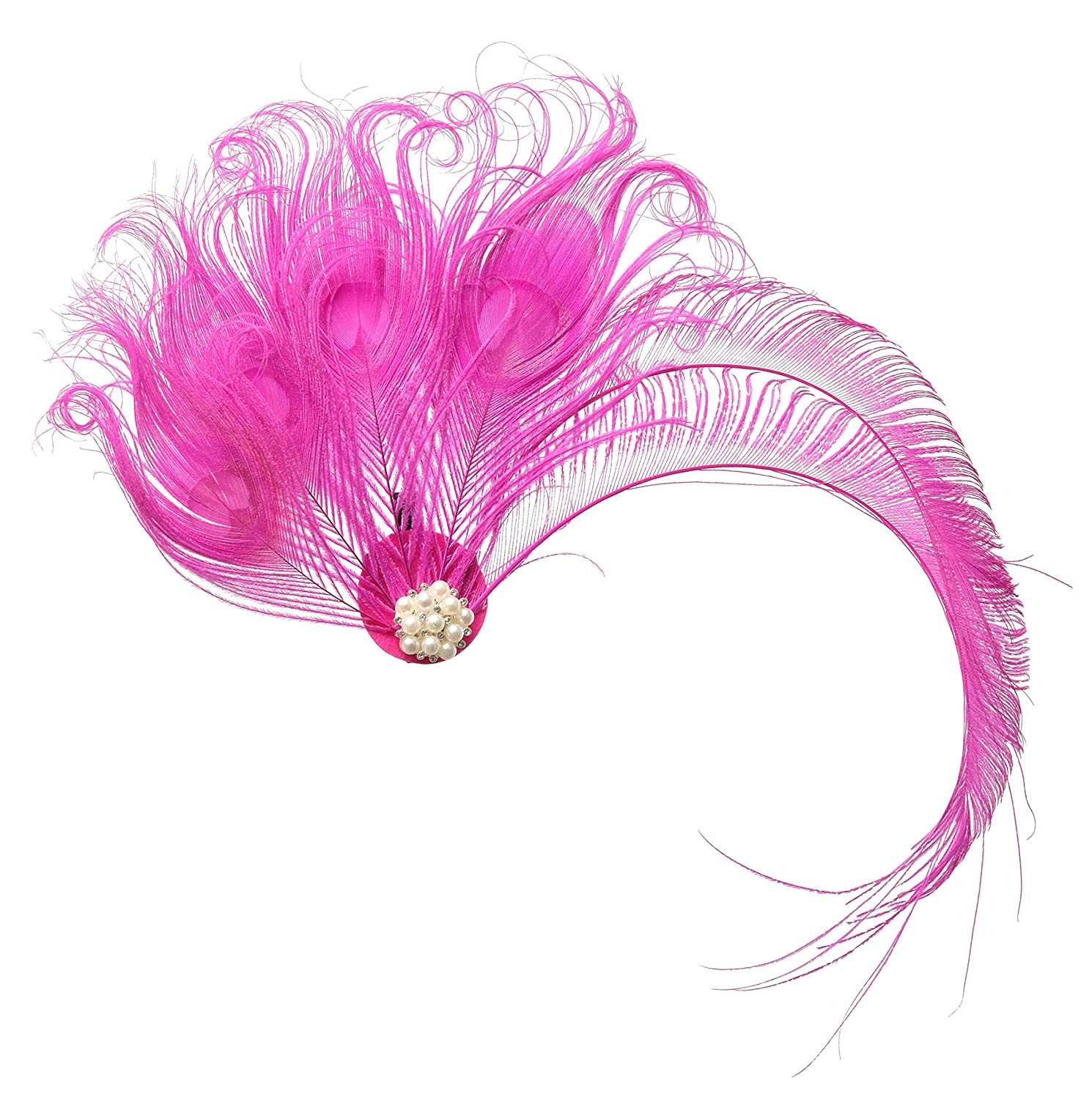 Zivyes 1920s Peacock Feather Costume Hair Clip Flapper Headpiece Hat Accessory ZSJ154B