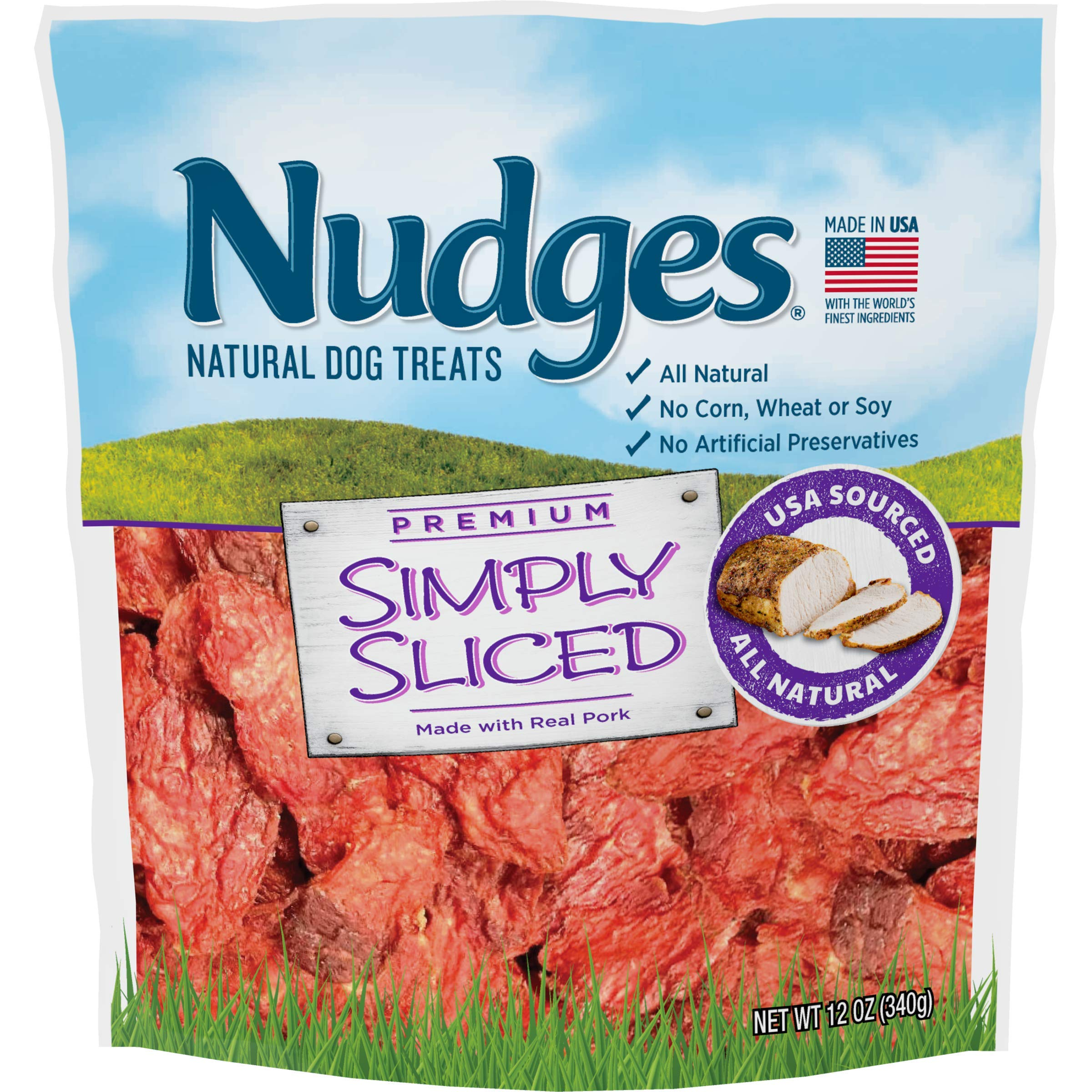 Nudges Simply Sliced Made with Real Pork Dog Treats, 12 oz by Nudges