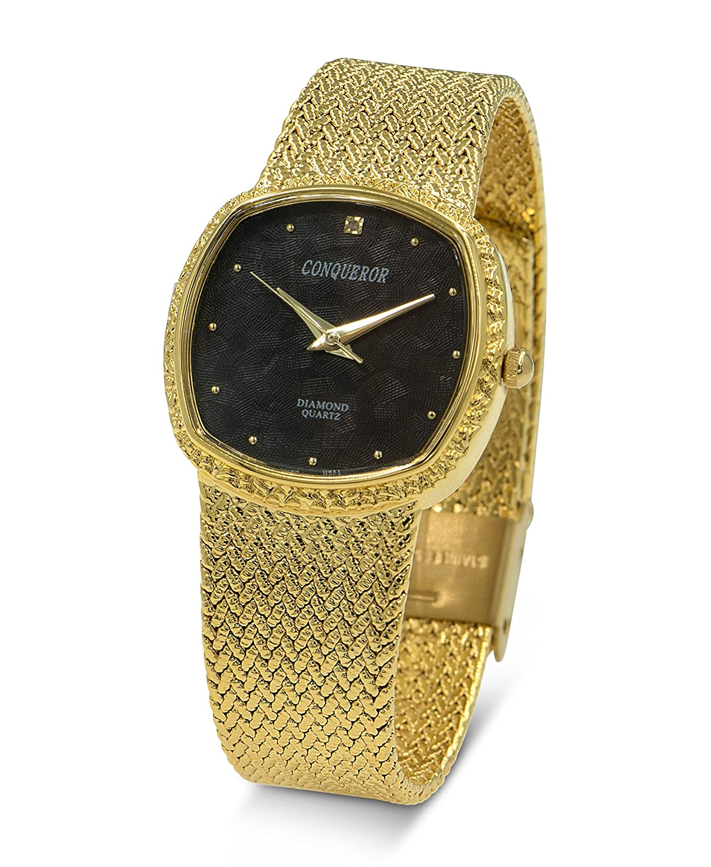 Conqueror Gold Ton mit Mesh Armband Unisex Quarz Kleid quadratisch mit Diamant