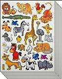 Jazzstick 200 Small Glitter Lion Elephant Giraffe Rhino Wild Animal Scrapbook Stickers for Kids 10 sheets 09A15