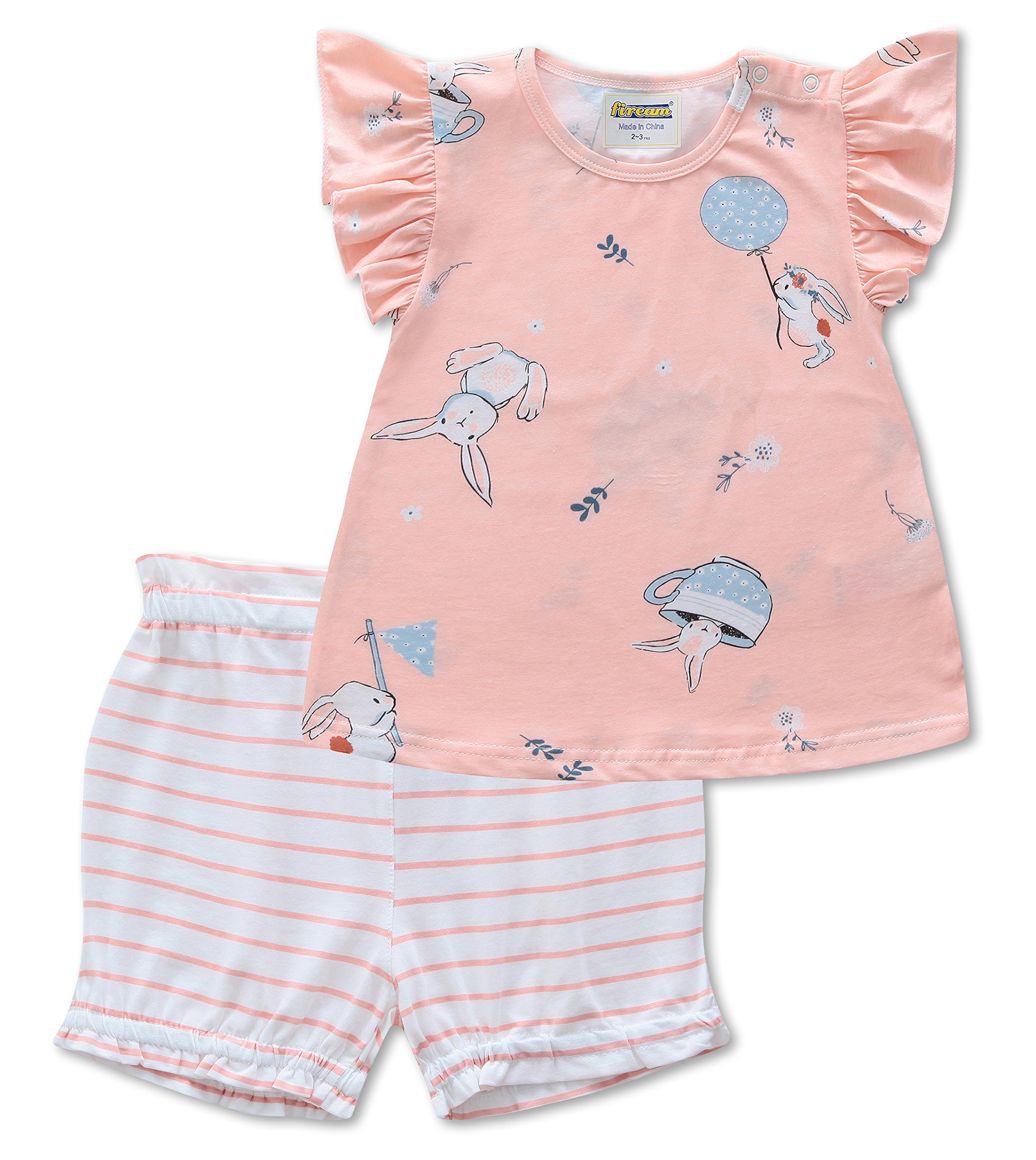 Fiream Baby Girl Outfits Cotton Cute Short Sleeve Clothing Set(185003,2-3YRS)