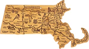 """Totally Bamboo Destination Series Massachusetts State Shaped Serving and Cutting Board, Bamboo, 16.75"""" x 9.25"""""""