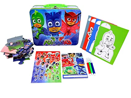 PJ Mask Lunch Tin with Puzzles, Stickers, Coloring Boards, Markers & Fun Pad