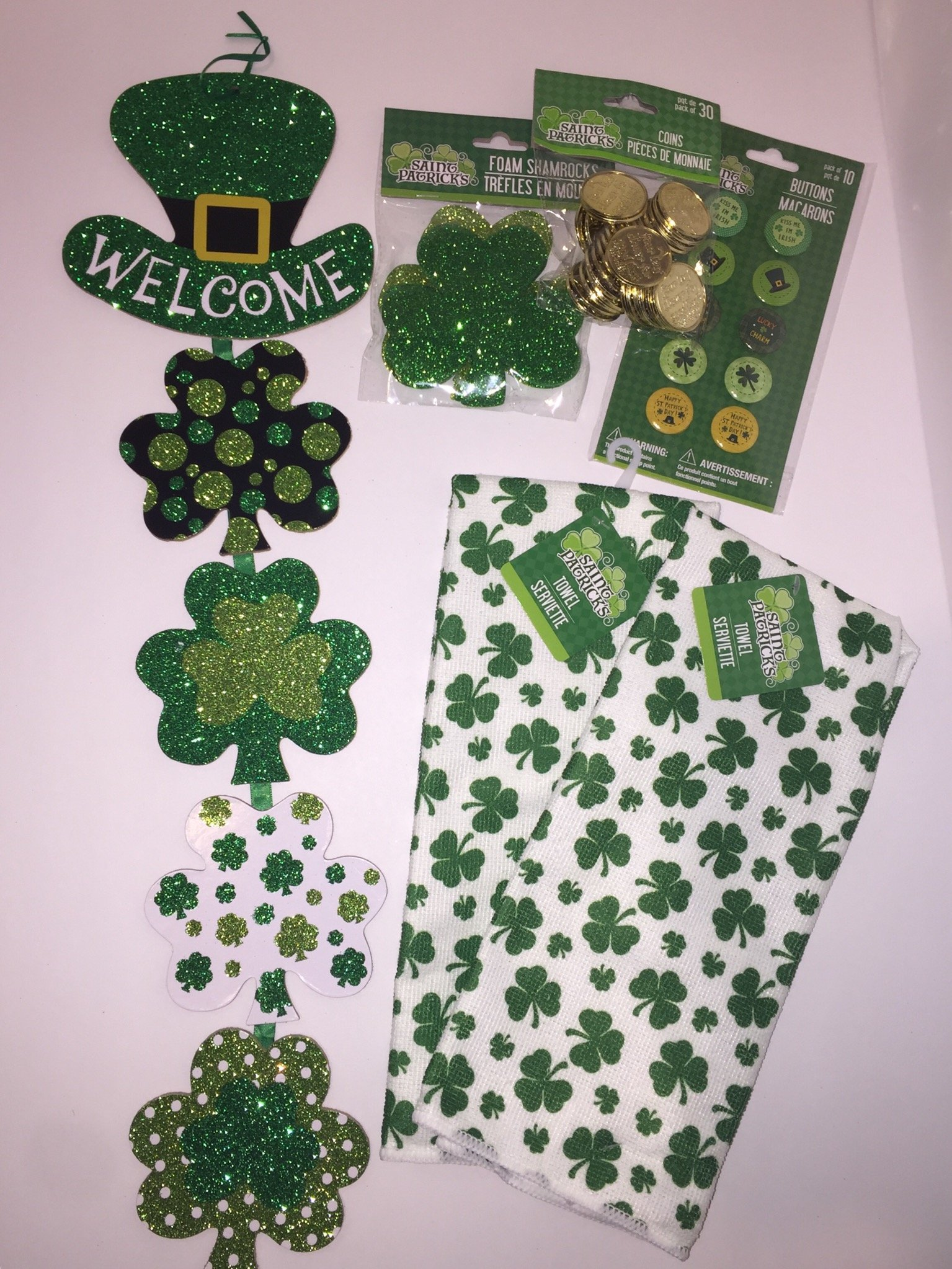 St. Patrick's Day Bundle! 30 Lucky Gold Coins, 2 Shamrock Kitchen Towels, Wood Welcome Glittery Wall Hanging, 10 Holiday Buttons/Pins, 12 Fun Foam Shapes