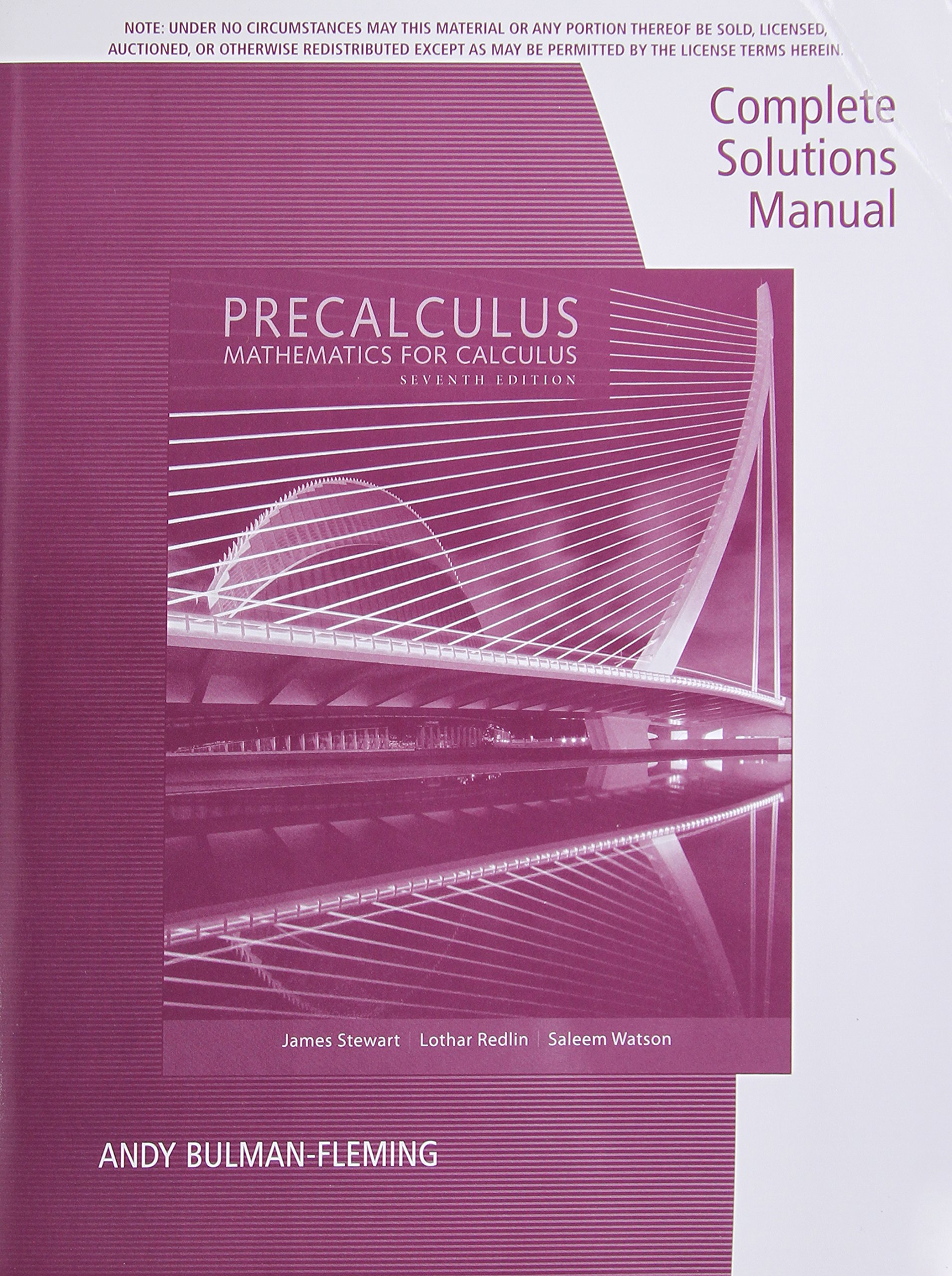 Complete Solutions Manual for Stewart/ Redlin/Watson 's Precalculus:  Mathematics for Calculus 7e: Andy Bulman-Fleming, James Stewart, Lothar  Redlin, ...