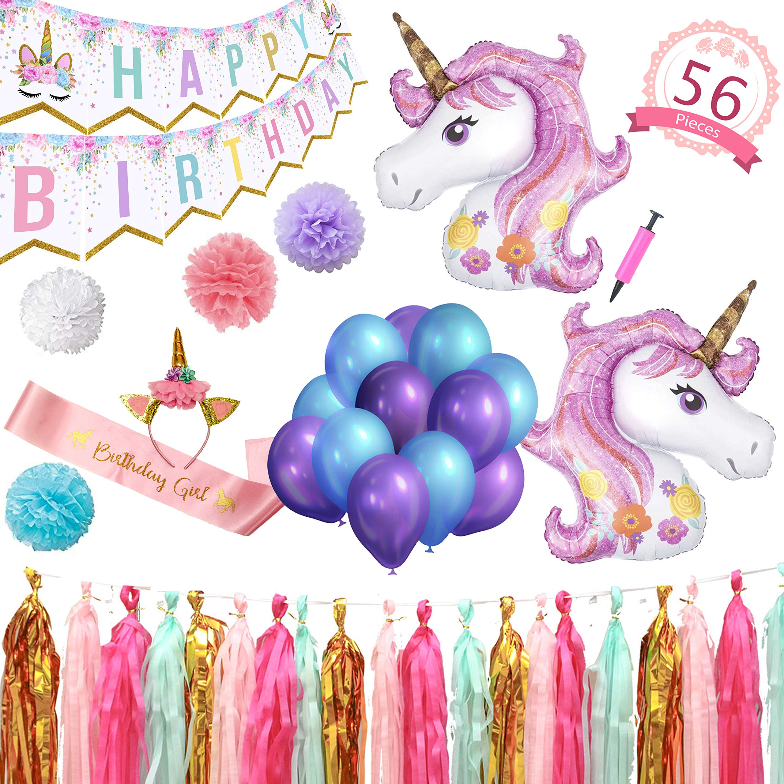 Party Maniak Unicorn Party Supplies Decorations for Girls with Banner, Foil and Latex Balloons, Birthday Sash, Headband, Tassels and Pom Pom - 56 Pieces