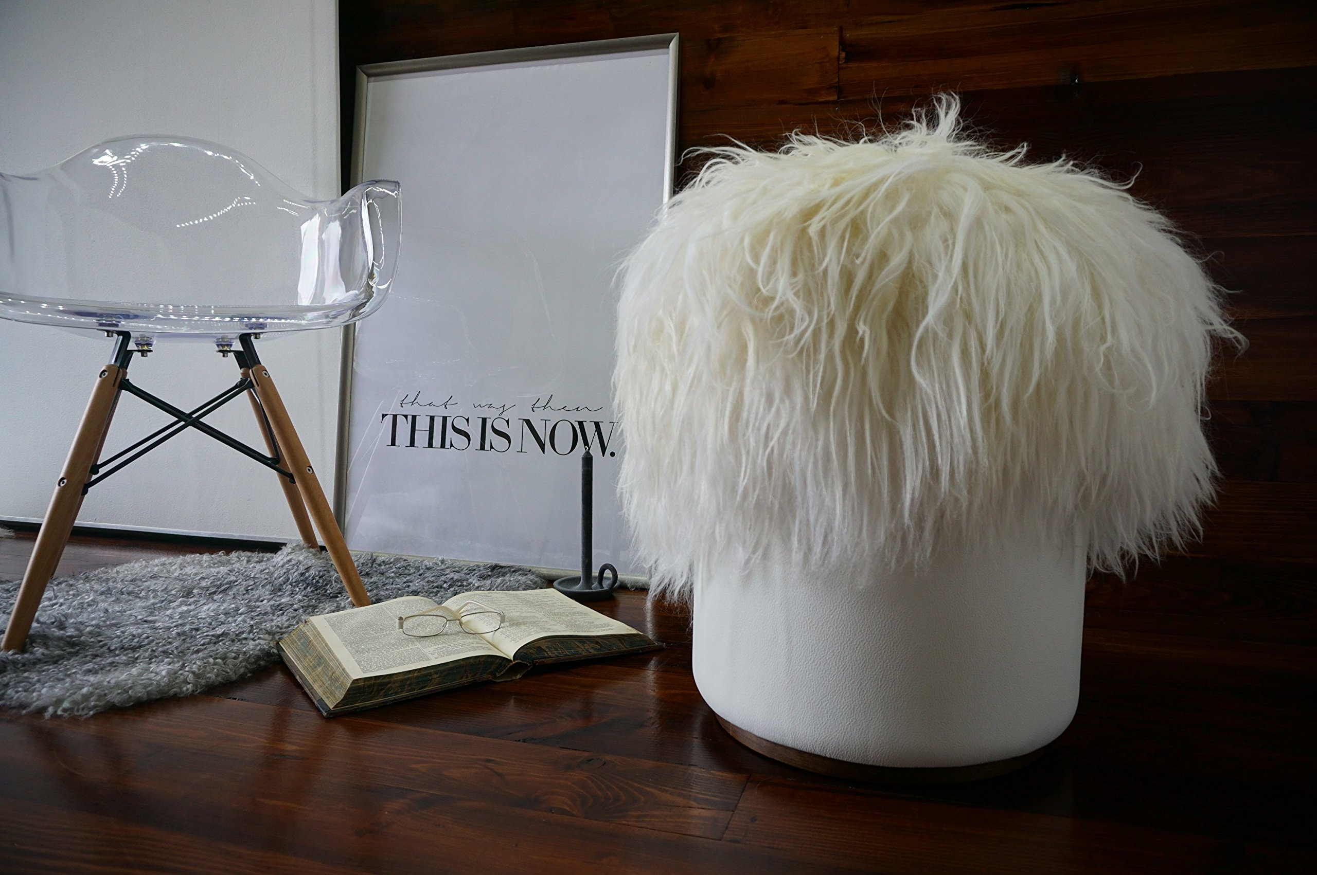 Exclusive Icelandic sheepskin - Super long cream white wool pouf (pouffe) - Soft touch white leather - Design Furniture by MILABERT