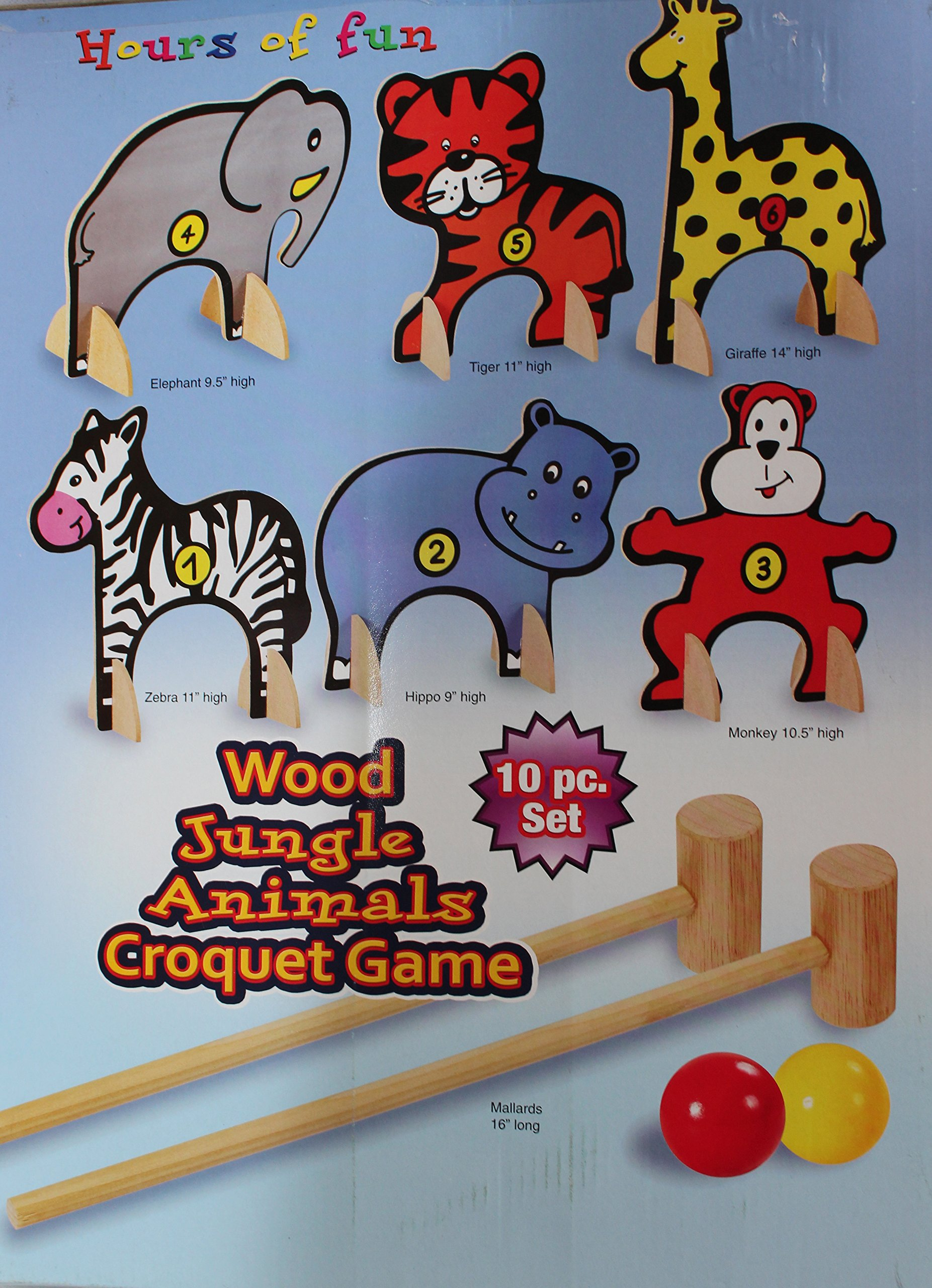 Kids 10-piece Wood Jungle Animals Croquet Set by Etna
