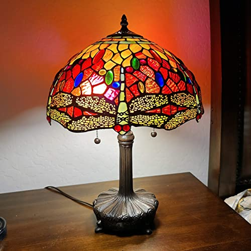 Amora Lighting Tiffany Style Table Lamp Banker 18.5″ Tall Stained Glass Red Blue Yellow Dragonfly Antique Vintage Light Decor Nightstand Living Room Bedroom Handmade Gift AM1035TL14B