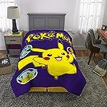 "Pokemon Pikachu Character Kids Ropa de Cama Suave Microfibra Reversible Comforter, individual/64 x 86"", Azul/Blanco"
