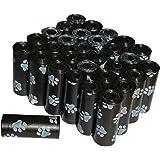 Zenify Dog Poop Bags Pet Waste (Set of 450, 30 Rolls) Unscented Paw Print (450, Black)
