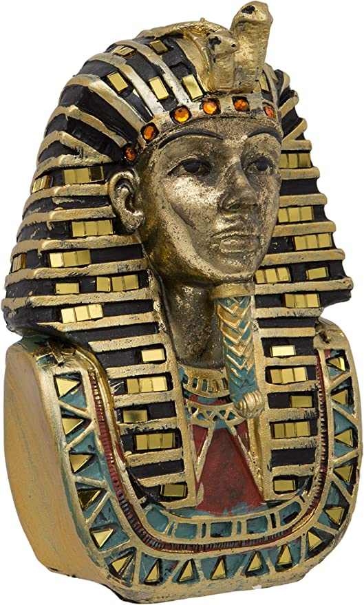 Maturi Gold Pharaoh Tutankamón Cabeza de pie – 18 cm: Amazon.es: Hogar