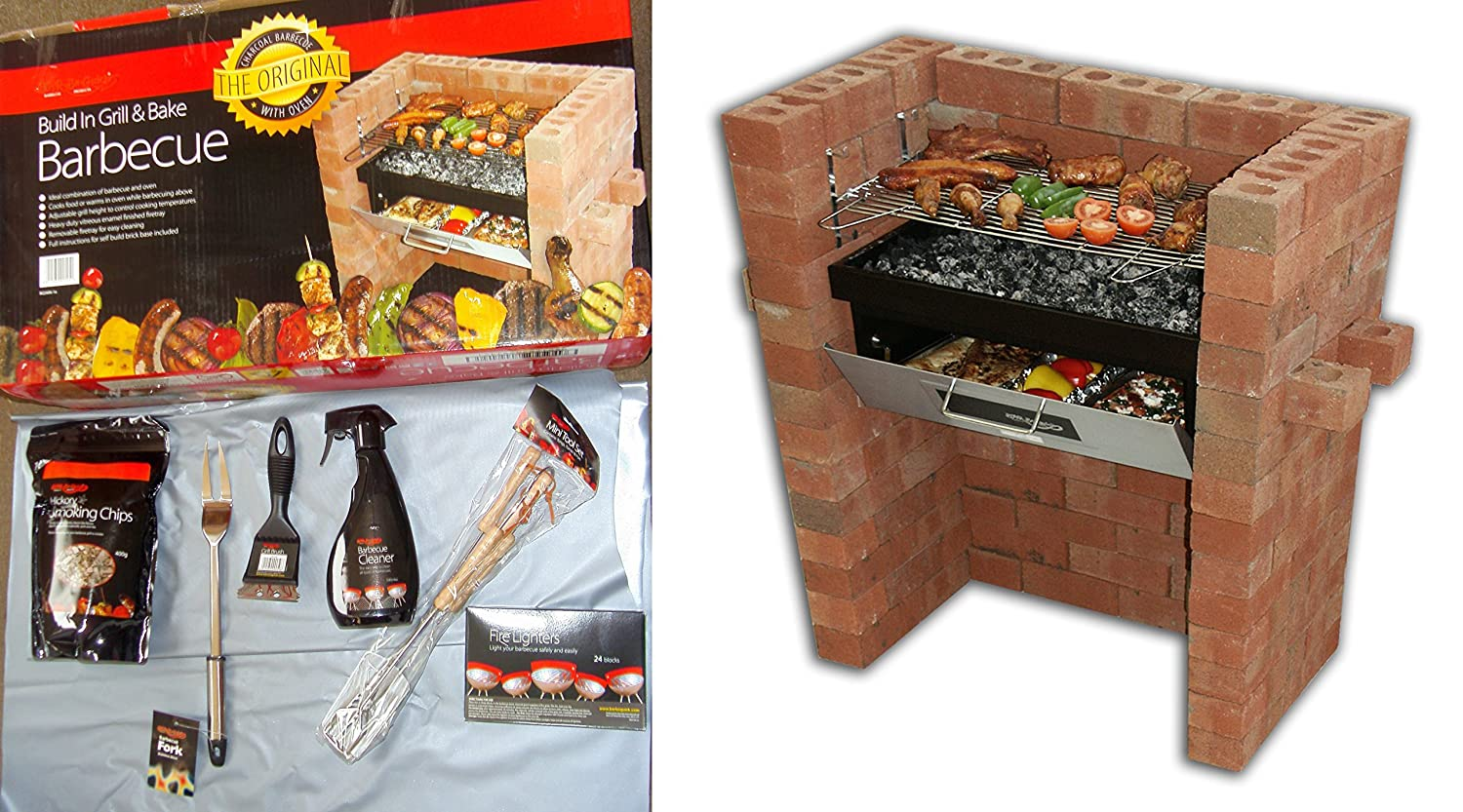The Original Bar-Be-Quick Build In Grill & Bake Barbecue + Starter Pack consisting of- Firelighters,3 Piece Utensil Kit, Grill Brush, BBQ Fork, Hickory Smoking Chips + BBQ Cleaner! LD-UM0O-PDWC